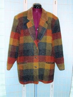 Vintage Woolrich Sz L Men's Mohair Wool Multi Color Suede Collar Plaid Coat…