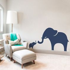 Wallums Wall Decor Mama And Baby Elephant Wall Decal Color: Lime Green