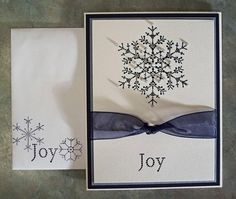 Embossed Handmade Christmas Card - Stampin Up THE SNOWFLAKE SPOT. $5.00, via Etsy.