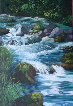"""Gina's Creek"" -Acrylics - Sonia's art studio                      Anchorage Alaska"