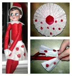 Create your own Elf on the Shelf skirt from a coffee filter! Fold in half, cut a hole in center, decorate, and tape the back together! The perfect accessory for your little elf!