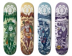 This Ol' Dog Series / Element Skateboards / linoleum carving and computer / by John Fellows