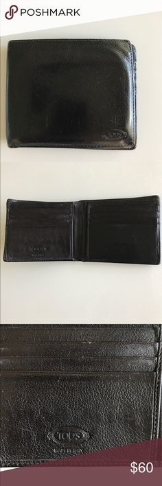 TOD'S man leather wallet Vintage Gently used vintage beautiful leather wallet. Normal signs of wear, to tears, no stains inside or out. Plenty of room for cards, two slots for paper bills. Made in Italy 🇮🇹 Tod's Bags Wallets