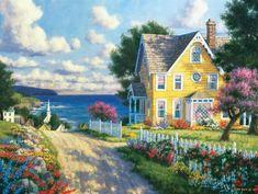 randy van beek art | Randy Van Beek Art Seaside Village 300 Piece Jigsaw Puzzle by ...