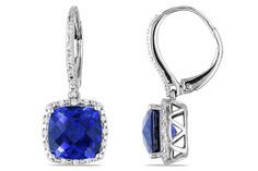 1/5 CT  Diamond TW And 6 1/2 CT TGW Created Blue Sapphire LeverBack Earrings Silver GH I3