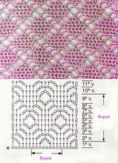 Crochet Diamonds Stitch Knitting by the Diamond Point Hook ⋆ by the Kingdom Hook Gilet Crochet, Crochet Lace Edging, Crochet Motifs, Crochet Stitches Chart, Crochet Diagram, Stitch Patterns, Knitting Patterns, Crochet Patterns, Blanket Patterns