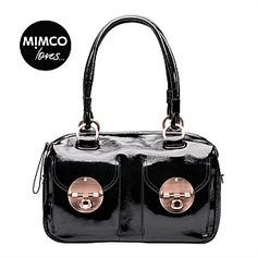 Mimco Patent Turnlock Zip Top Bag - This bag stole my heart back in 2009 I bought it and still use it every day. I need a new bag and I am going to buy it again! Mimco Bag, Black Patent Leather, Leather Bag, My Wallet, Unique Bags, Beautiful Handbags, New Bag, Everyday Fashion, Fashion Accessories