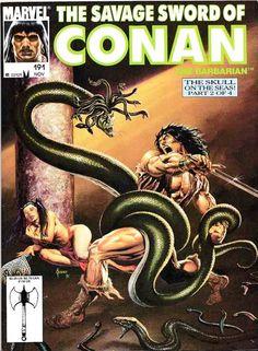 The Savage Sword of Conan The Barbarian / Nº191 cover / The Evil of Thoth Amon / 1991 (Joe Jusko)