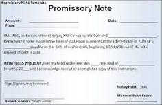 Promissory note template promissory note pinterest for Promissory note template canada