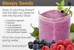 NutriBullet - Recipes. Sleepy Seeds. Spinach, banana, raspberry, blueberry, pumpkin seeds, sunflower seeds.