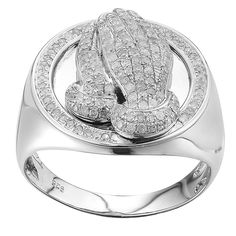 Sterling Silver 3/4ct TDW Diamond Praying Hand Ring (G-H, I2-I3) (White Size 10), Women's