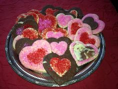 I kept it simple, adding only hot pink and red sugars Heart Cookie Cutter, Heart Cookies, Cookie Cutters, How To Make Cookies, Keep It Simple, Hot Pink, Valentines Day, Frozen, Pink