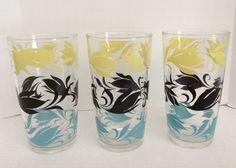 Vintage Hazel Atlas Glass Tumblers Yellow Black Blue Set of 3 #HazelAtlas