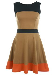 I would so wear this...with a pair of killer mary janes! camel colour block skater dress.  miss selfridge