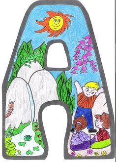 Letras para crear el cartel de primavera Diy And Crafts, Crafts For Kids, Bird Theme, Alphabet And Numbers, Spring Colors, Techno, Clip Art, Symbols, Letters