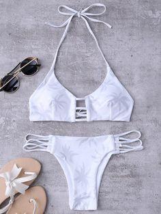 Ladder Cut Halter Coconut Print Bathing Suit - White M Best Swimwear, Bikini Swimwear, Bikini Set, Swimsuits, 4th Of July Bikinis, Zaful Bikinis, White Bikinis, Designer Swimwear, Bra Styles
