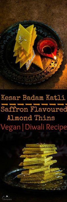 Jagruti's Cooking Odyssey: Vegan Kesar Badam Katri / Katli - Vegan Saffron Almond Thins / Diamonds #Diwalispecial #Diwalisweets