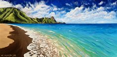 Tunnels Beach Painting by Chad Berglund