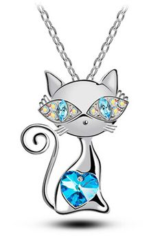 free shipping Valentines Day gift top quality  Gold plated AAA rhinestones crystal cat catty Pendant Necklace fashion Jewelry