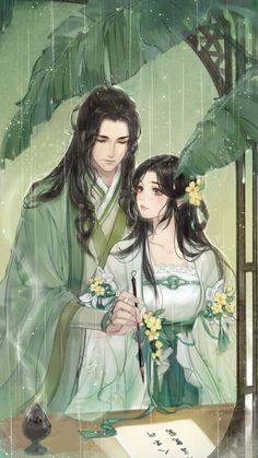 Anime Couples Drawings, Anime Couples Manga, Cute Anime Couples, Chinese Drawings, Chinese Art, Art Drawings, Me Anime, Manga Anime, Illustrations