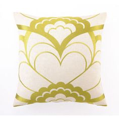 Floral Printed Pillow in Lime Green