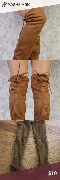 NeverWorn Suede thigh high boots stretch sexy 9 Size 9 women's.   Suede chestnut.   Never worn brand new stretch. Can fit any thigh size Shoes Over the Knee Boots