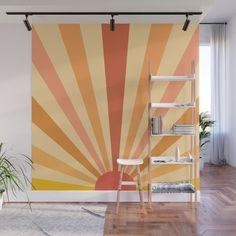 Garden Mural, Coral Walls, Door Murals, Wall Decor, Room Decor, Striped Walls, Easy Wall, Big Girl Rooms, New Room