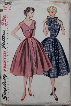 Simplicity 3850, ca 1952; Sz 14/Bust 32