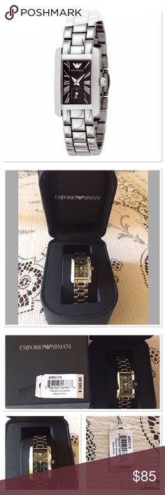 Emporio Armani ladies watch Silver tone with black face ladies watch.  Just like new, no scratches no flaws what so ever.  I had it sized to fit me to 7.5 wrist.  I do have extra links for it.  I paid $245 at Macy's . Emporio Armani Jewelry Bracelets