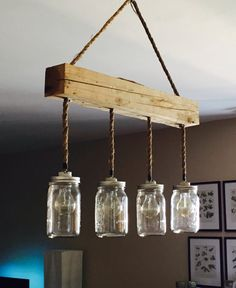 Mason Jar Stars Hanging Rope Light by NorthernLampes on Etsy Hanging Rope, Diy Hanging, Hanging Lights, Rustic Lighting, Vintage Lighting, Cool Lighting, Lighting Ideas, Mason Jar Lighting, Mason Jar Lamp