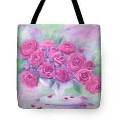 UNARRANGED Tote Bag for sale by T Fry-Green. $26.00  The tote bag is machine washable, available in three different sizes, and includes a black strap for easy carrying on your shoulder.  All totes are available for worldwide shipping and include a money-back guarantee. #unarranged #flowers #unarrangedflowers #pink #pinkflowers #vase #leaves #fashionbag #tfrygreenart #tfrygreen #homeatlaststudio #art #original #tote #toteart #fineartamerica
