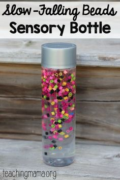 Slow-Falling beads sensory bottle - such a pretty idea!Tap the link to check out great fidgets and sensory toys. Check back often for sales and new items. Happy Hands make Happy People! Sensory Table, Sensory Play, Sensory Boards, Sensory Rooms, Infant Activities, Preschool Activities, Calming Activities, Calming Bottle, Calming Jar