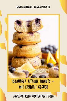 Blaubeer Zitrone Donuts mit Erythrit gesüßt. Frisch gebacken zu dir gekühlt nach Hause geschickt <3 Fruchtig zitronig und mit Heidelbeeren gespickt sind diese neuen Sommerdonuts! Natürlich mit Erythrit statt Zucker, Lowcarb, Keto, Glutenfrei und Paleo. Jetzt nur für begrenzte Zeit! www.soulfood-lowcarberia.de Brownies, Snacks, Low Carb Desserts, Coleslaw, Donuts, Paleo, Breakfast, Food, Low Carb Snack Ideas