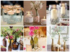 Garrafas e vidros são sempre úteis na hora de decorar e podem virar vasos e castiçais com pouca ou nenhuma intervenção