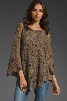 Tutorial to make the motif for this poncho. MyPicot | Free crochet patterns ~k8~