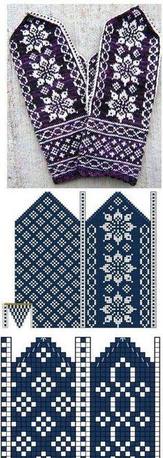 Knitting Charts, Knitting Stitches, Knitting Designs, Knitting Needles, Knitting Projects, Knitting Patterns, Knitted Mittens Pattern, Knit Mittens, Knitting Socks