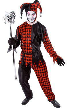Black and Red Dark Jester Costume £29.99 : Direct 2 U Fancy Dress ...