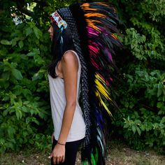 Mixed Colors War Bonnet - 130cm – Indian Headdress - Novum Crafts