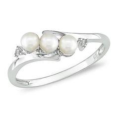 Anello moda in oro bianco 10 ct con 0,013 ct di diamanti e perle d'acqua dolce bianche da 3,5 - 4 mm GH I2;I3 Delmar UK http://www.amazon.it/dp/B0021I9OHO/?tag=advert od-21
