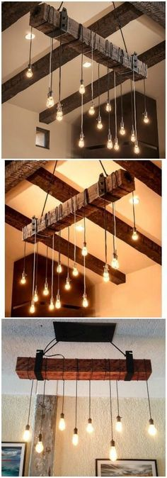Create Your Own Rustic Industrial Chandelier For Modern Farmhouse Lighting With A Reclaimed Wood Beam