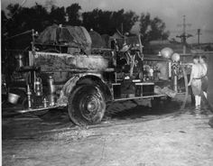 Pumper from Engine Co. #1, Fort Lee, pumped water from the swimming pool at Palisades Amusement Park to extinguish the flames. The intensity of the fire caused the hose to catch fire, which damaged the fire truck, August 13, 1944.