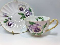 Shelley Teacup and Saucer, Shelley Pansy Teacup, Shelley China, Shelley Floral Cups, Antique Tea Cups Vintage, Ludlow Shape Antique Tea Cups, Vintage Teacups, Super Belle, Christmas Cup, Tea Parties, Tea Sets, Tea Cup Saucer, Pansies, Free Gifts