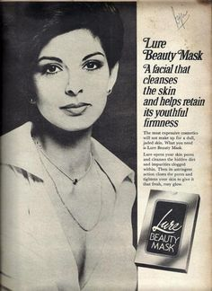 Ad for Lure Beauty Mask. Early 1970s. Model: Either the famous Persis Khambatta or (more probably) Yasmin Daji, crowned Miss India 1966 by Persis Khambatta. Join us at http://www.turtok.com/