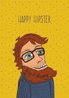 HIPSTER MAN YELLOW poster print // A2 16.5 x door SchildertuinDesign