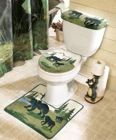 Northwoods Bathroom Bear Toilet Commode & Rug Set By Collections Etc by Collections, http://www.amazon.com/dp/B004FJTBCU/ref=cm_sw_r_pi_dp_DQlBrb0Z2V437