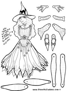 Marcella Witch Puppet www.pheemcfaddell.com - See more Fairy dolls to color and…