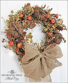 Learn to make a fall wreath. Fall decorating ideas.