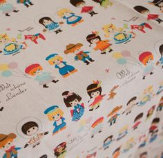 3038 - Japanese Kokka Kids Cotton Linen Blend Fabric - 57 Inch (Width) x 1/2 Yard (Length). $8,00, via Etsy.