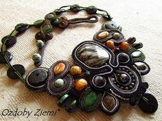 Ozdoby Ziemi: Kolia MOAI STONE #necklace #soutache #sutasz #necklace soutache