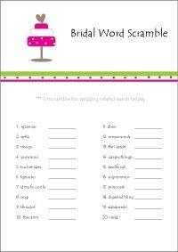 Printable Bridal Shower Games - Bridal Word Scramble